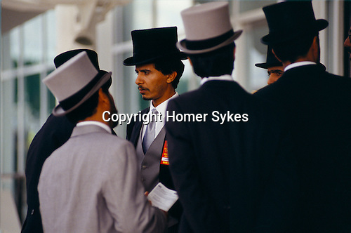 GROUP OF YOUNG ARAB MEN FROM THE EMIRATES, IN TOP HATS & TAILS, AT THE DERBY,