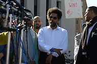 October 17, 2011  (Washington, DC)  Dr. Cornel West (center) listens during a press conference after his appearance before a judge at the DC Superior Court.  West and 16 others, including participants in Occupy DC and members of October2011, were arrested for protesting on the grounds of the US Supreme Court on October 16, 2011, the day of the MLK Memorial Dedication.    (Photo by Don Baxter/Media Images International)
