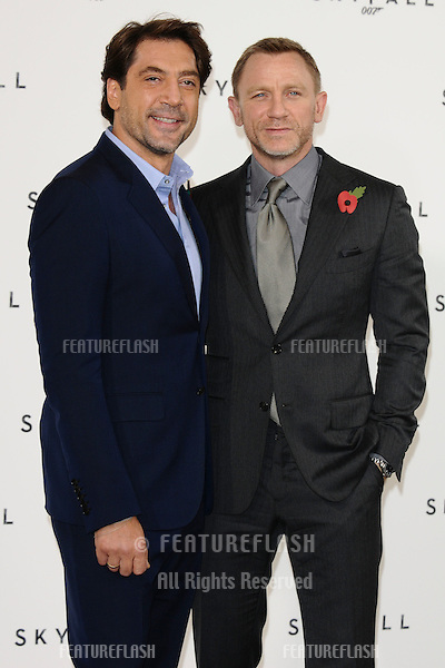 Javier Bardem and Daniel Craig at the phoptocall to announce the start or production of the new James Bond film 'SKYFALL', at Massimo's restaurant, London. 03/11/2011 Picture by: Steve Vas / Featureflash