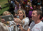 Mayor Hillary Schieve takes a selfie with the crowd at the Northern Nevada Pride Parade and Festival in Reno on Saturday, July 23, 2016.