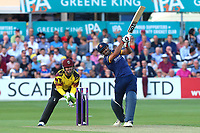 Ravi Bopara hits out for Essex as Steven Davies looks on from behind the stumps during Essex Eagles vs Somerset, NatWest T20 Blast Cricket at The Cloudfm County Ground on 13th July 2017