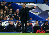 5th December 2017, Stamford Bridge, London, England; UEFA Champions League football, Chelsea versus Atletico Madrid; Atletico Madrid Manager Diego Simeone shouting instructions from the touchline