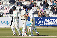 Nick Gubbins congratulates Stephen Eskinazi of Middlesex CCC on his half century during Middlesex CCC vs Lancashire CCC, Specsavers County Championship Division 2 Cricket at Lord's Cricket Ground on 11th April 2019