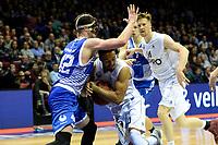 GRONINGEN - Basketbal, Donar - Landstede Zwolle, Martiniplaza,  Dutch Basketball League, seizoen 2017-2018, 12-11-2017,  Donar speler Brandyn Curry in duel met Landstede speler Ralf de Pagter