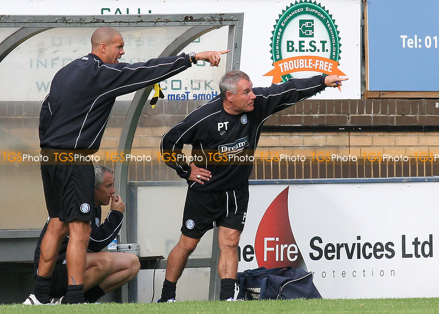 Wycombe Wanderers Head Coach, Junior Lewis and Manager, Peter Taylor make their point during Wycombe Wanderers vs Lincoln City, Coca Cola League Division Two Football at Adams Park on 23rd August 2008