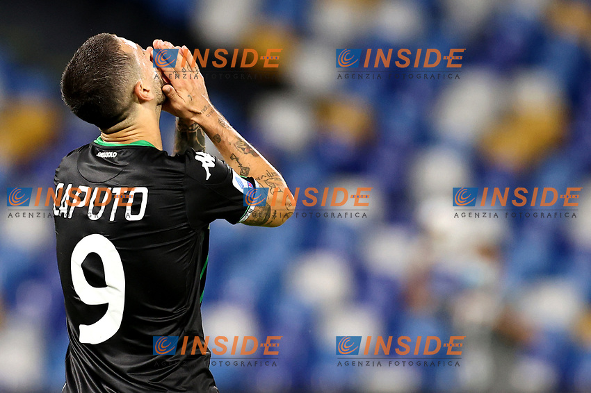 Francesco Caputo of US Sassuolo reacts during the Serie A football match between SSC Napoli and US Sassuolo at stadio San Paolo in Napoli ( Italy ), July 25th, 2020. Play resumes behind closed doors following the outbreak of the coronavirus disease. <br /> Photo Cesare Purini / Insidefoto