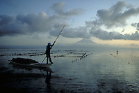 Seaweed harvester at dawn on the island of Nusa Lembogan near Bali, Indonesia.  CD scan from 35mm film.  © John Birchard