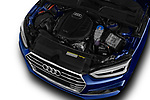 Car stock 2017 Audi A5 Sport 2 Door Convertible engine high angle detail view