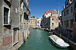 A quiet canal in the sestiere of Castello in Venice, Italy. Castello is the largest of the six sestiere of Venice. The district grew from the thirteenth century around a naval dockyard on what was originally the Isole Gemini.