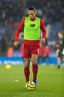 26th December 2019; King Power Stadium, Leicester, Midlands, England; English Premier League Football, Leicester City versus Liverpool; Virgil van Dijk of Liverpool with the ball at his feet during the match warm up - Strictly Editorial Use Only. No use with unauthorized audio, video, data, fixture lists, club/league logos or 'live' services. Online in-match use limited to 120 images, no video emulation. No use in betting, games or single club/league/player publications
