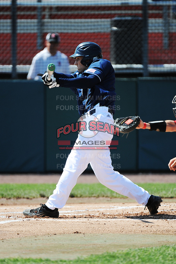 University of Notre Dame Fighting Irish infielder Lane Richards (4) during game against the St. John's University Redstorm at Jack Kaiser Stadium on May 12, 2013 in Queens, New York. St. John's defeated Notre Dame 2-1.      . (Tomasso DeRosa/ Four Seam Images)