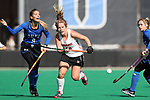 DURHAM, NC - NOVEMBER 11: Miami's Leonor Berlie (SUI) (12) and Duke's Lily Posternak. The Duke University Blue Devils hosted the Miami University (Ohio) Redhawks on November 11, 2017 at Jack Katz Stadium in Durham, NC in an NCAA Division I Field Hockey Tournament First Round game. Duke won the game 4-2.