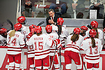 Wisconsin Badgers Head Coach Mark Johnson talks to his players during opening night against the Bemidji State Beavers at the LaBahn Arena Friday, October 19, 2012 in Madison, Wis. (Photo by David Stluka)