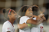 SAN JOSE, CA - DECEMBER 6: Madison Haley #3 of the Stanford Cardinal celebrates with teammates during a game between UCLA and Stanford Soccer W at Avaya Stadium on December 6, 2019 in San Jose, California.