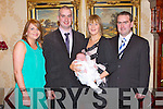 CHRISTENING: Proud parents Jack and Margo O'Sullivan, Kilsarcon East, Currow of little Jack who was Christened by Fr Tim Flynn at the Church of the Immaculate Conception, Currow and celebrated afterwards with family and friends at the Ballyroe Heights hotel on Sunday l-r: Annmarie Flynn, Jack (snr), Margo, Jack O'Sullivan and Padraig O'Sullivan...