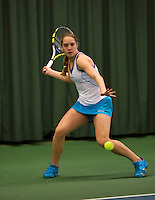 Rotterdam, The Netherlands, 07.03.2014. NOJK ,National Indoor Juniors Championships of 2014, 12and 16 years, Isolde de Jong (NED)<br /> Photo:Tennisimages/Henk Koster