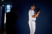 Minnesota Twins pitcher Andrew Vasquez (62) poses for team photographer Brace Hemmelgarn during Spring Training Photo Day on February 22, 2019 at Hammond Stadium in Fort Myers, Florida.  (Mike Janes/Four Seam Images)