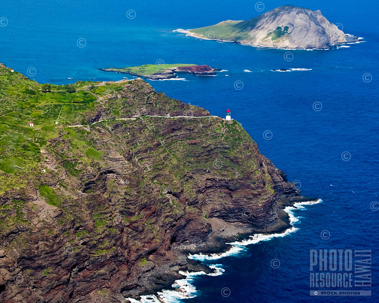 Makapuu Lighthouse and Rabbit Island from 2000 feet.