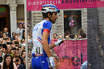 Thibaut Pinot (FRA) Groupama-FDJ at sign on before the start of Stage 15 of the 2018 Giro d'Italia, running 156km from Tolmezzo to Sappada, Italy. 20th May 2018.<br /> Picture: LaPresse/Gian Mattia D'Alberto | Cyclefile<br /> <br /> <br /> All photos usage must carry mandatory copyright credit (&copy; Cyclefile | LaPresse/Gian Mattia D'Alberto)