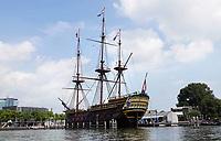 Nederland - Amsterdam -l 2019. Replica van het VOC schip De Amsterdam bij het Scheepvaartmuseum. Foto Berlinda van Dam / Hollandse Hoogte