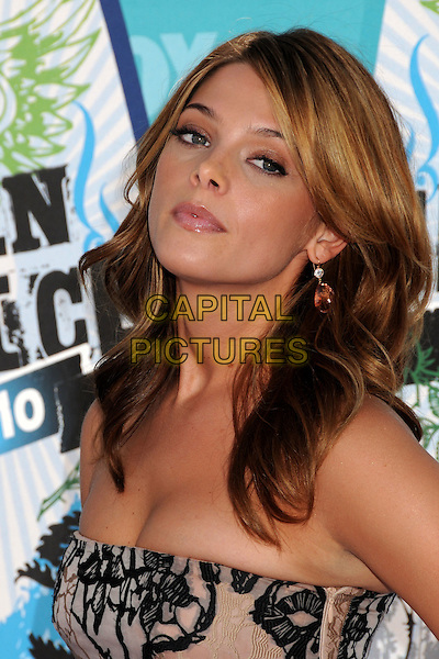 ASHLEY GREENE.Teen Choice Awards 2010 - Arrivals held at Universal Studios Gibson Amphitheatre, Universal City, California, USA.August 8th, 2010.headshot portrait strapless pink patterned black .CAP/ADM/BP.©Byron Purvis/AdMedia/Capital Pictures.