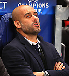 Bayern coach, Pep Guardiola looks worried - Manchester City vs. Bayern Munich - UEFA Champion's League - Etihad Stadium - Manchester - 25/11/2014 Pic Philip Oldham/Sportimage