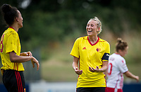 Anneka Nuttall of Watford Ladies congratulates goalscorer Natalie Murray of Watford Ladies during the pre season friendly match between Stevenage Ladies FC and Watford Ladies at The County Ground, Letchworth Garden City, England on 16 July 2017. Photo by Andy Rowland / PRiME Media Images.