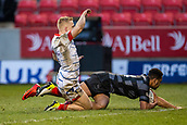 3rd February 2019, AJ Bell Stadium, Salford, England; Premiership Rugby Cup, Sale Sharks versus Newcastle Falcons; Zach Kibirige of Newcastle Falcons scores a try