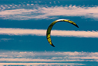 Kite surfing sail in sky over the beach in Ocean City, Maryland.