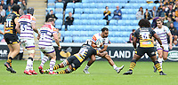 Leicester Tigers' Telusa Veainu is tackled by Wasps' Nizaam Carr <br /> <br /> Photographer Stephen White/CameraSport<br /> <br /> Gallagher Premiership - Wasps v Leicester Tigers - Sunday 16th September 2018 - Ricoh Arena - Coventry<br /> <br /> World Copyright &copy; 2018 CameraSport. All rights reserved. 43 Linden Ave. Countesthorpe. Leicester. England. LE8 5PG - Tel: +44 (0) 116 277 4147 - admin@camerasport.com - www.camerasport.com