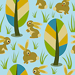 Seamless repeat pattern tile vector with cute bunnies and colorful forest trees. Ideal for surface prints.<br /> <br /> Available also as latest EPS format (Scalable to infinite size) and PNG format.<br /> <br /> WANT TO SEE HOW THIS WILL  LOOK WHEN ARRANGED AS A PATTERN?<br /> <br /> You can find the image of whole pattern put together in this gallery only.<br /> <br /> Tip: It should be the image next to this one, or, just search &quot;seamless+bunnies+woods&quot;!