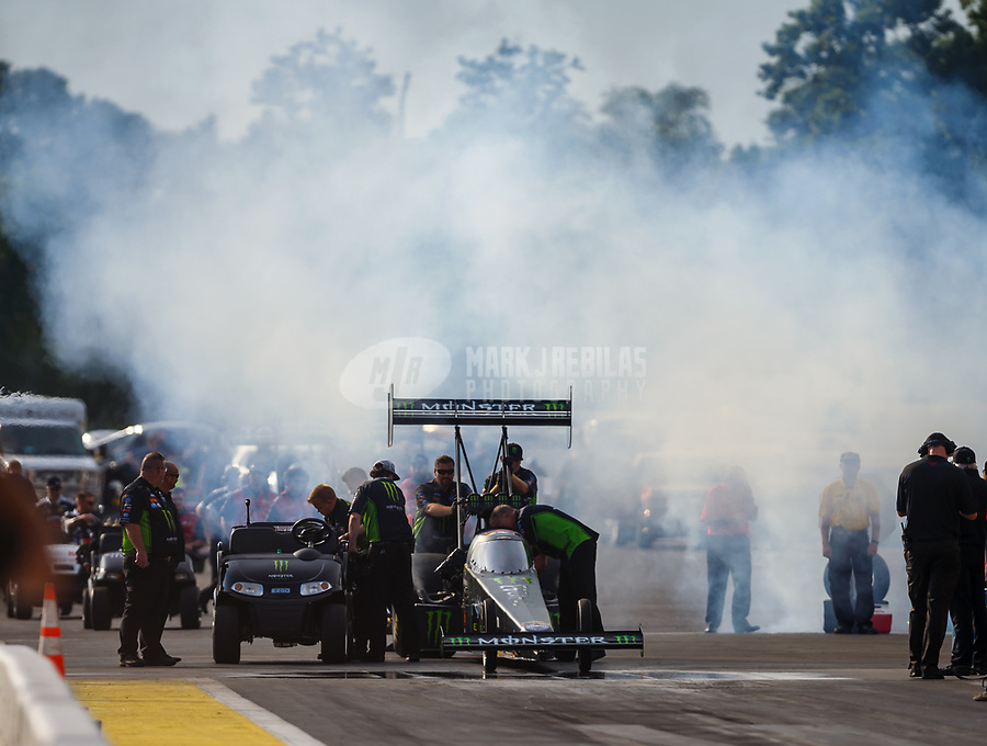 Aug 18, 2017; Brainerd, MN, USA; NHRA top fuel driver Brittany Force during qualifying for the Lucas Oil Nationals at Brainerd International Raceway. Mandatory Credit: Mark J. Rebilas-USA TODAY Sports