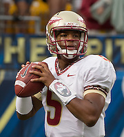Florida State quarterback Jameis Winston. Florida State defeated Pitt 41-13 at Heinz Field on September 2, 2013.