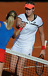 Czech Republic's Klara Zakopalova (L)  shake hands with Spain's Maria Teresa Torro-Flor after their 2014 International Tennis Federation Fed Cup World Group first-round tie at the Blas Infante tennis centre in Sevilla on February 10, 2014. Zakopalova won 6-3,2-6,6-1. <br /> PHOTOCALL3000 / GL