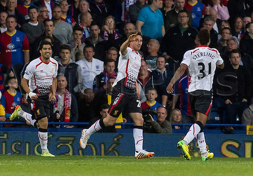 05.05.2014  London, England. Liverpool midfielder Joe Allen (24) celebrates scoring the opening goal during the Barclays Premier League match between Crystal Palace and Liverpool from Selhurst Park