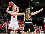 SIOUX FALLS, SD: MARCH 5: Ciara Duffy #24 from the University of South Dakota looks for a teammate against Nebraska Omaha during the Summit League Basketball Championship on March 5, 2017 at the Denny Sanford Premier Center in Sioux Falls, SD. (Photo by Dave Eggen/Inertia)