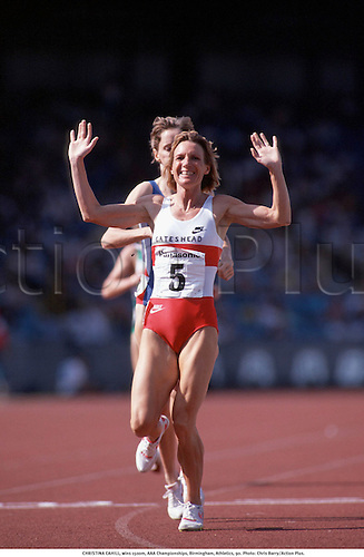 CHRISTINA CAHILL, wins 1500m, AAA Championships, Birmingham, Athletics, 90. Photo: Chris Barry/Action Plus....celebration.celebrate.celebrates.celebrations.joy.finish line.distance.1990.woman.track and field.female