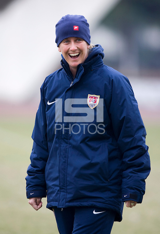 Assistant coach Erica Walsh. The USWNT practices during a cold, rainy day while in  Guangzhou, China, for the Four Nations Tournament on January 17, 2008.