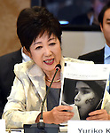 November 29, 2016, Tokyo, Japan - Tokyo Gov. Yuriko Koike speaks during a four-party meeting to review costs and venues for the 2020 Tokyo Olympics and Paralympics at a Tokyo hotel on Tuesday, November 29, 2016. The four top-level representatives of the International Olympic Committee, 2020 Games organizers, the Tokyo Metropolitan and Japanese governments discussed details regarding the venues for rowing/canoe and volleyball based on proposals by the metropolitan government.  (Photo by Natsuki Sakai/AFLO) AYF -mis-