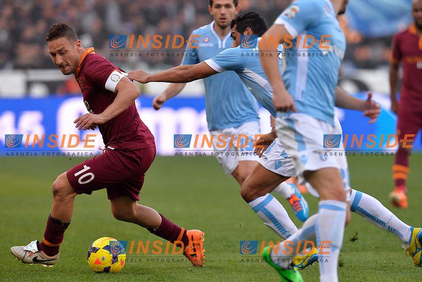 Francesco Totti Roma, Andre Dias Lazio <br /> Roma 09-02-2014 Stadio Olimpico - Football Calcio Serie A 2013/2014 Lazio - As Roma Foto Andrea Staccioli / Insidefoto