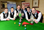 The New Institute Team from Nenagh, County Tipperary who won the Gleneagle All-Ireland Team Snooker Champiopnship in Killarney at the weekend pictured receiving their trophy from Patrick O'Donoghue, The Gleneagle Hotel. Included are from left, David Horan, Brendan O'Donoghue, Mark Walsh, captain, Andrew McCloskey and Tony Seymore.<br /> Photo Don MacMonagle