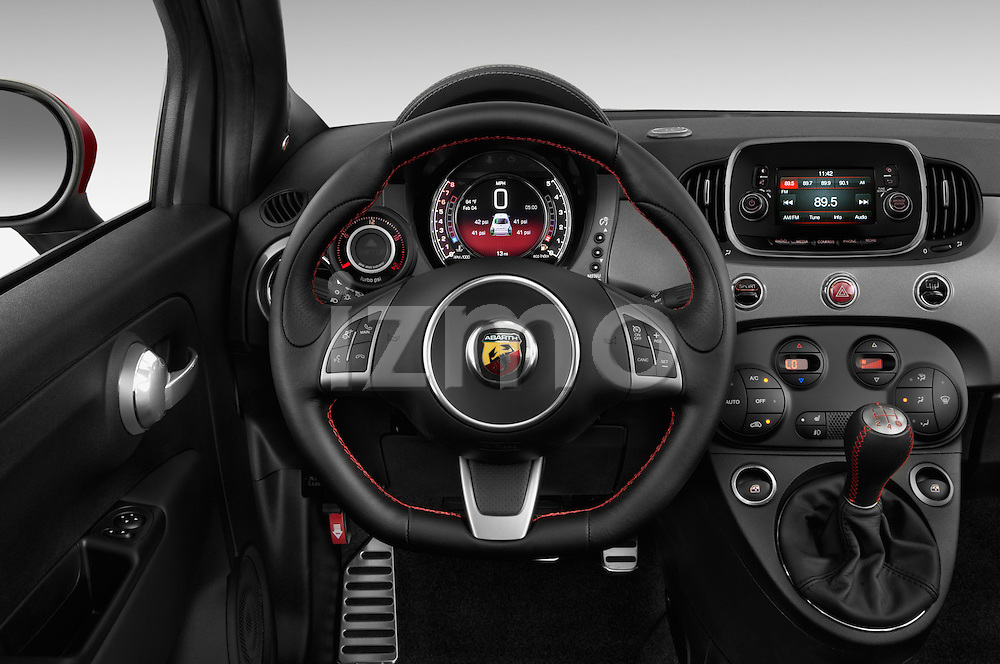 Car pictures of steering wheel view of a 2017 Fiat 500c Abarth-Cabrio 2 Door Convertible Steering Wheel