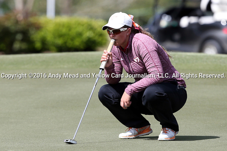 16 April 2016: Virginia Tech's Amanda Hollandsworth. The Second Round of the Atlantic Coast Conference's Womens Golf Tournament was held at Sedgefield Country Club in Greensboro, North Carolina.