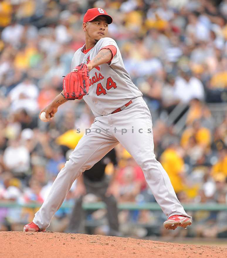 St. Louis Cardinals Carlos Martinez (44) during a game against the Pittsburgh Pirates on August 27, 2014 at PNC Park in Pittsburgh PA. The Pirates beat the Cardinals 3-1.