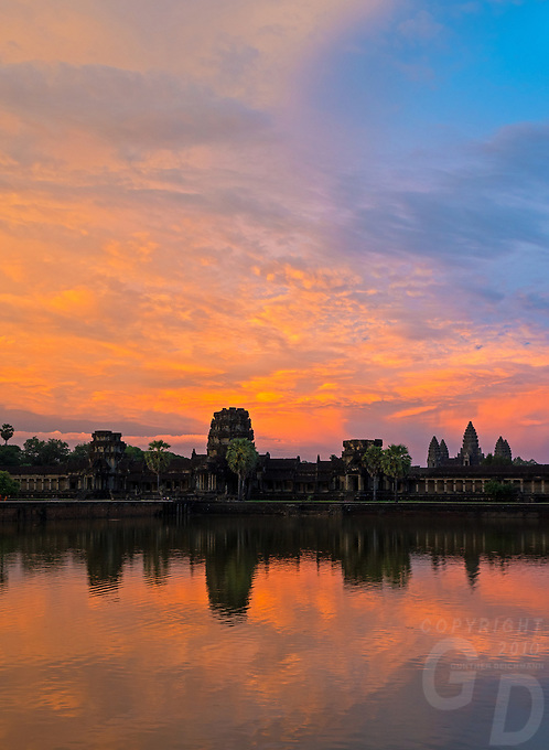 Last light and Dramatic Sunset over Angkor Wat, Siem Reap Cambodia