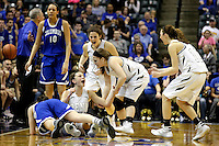 Penn guard/forward Camryn Buhr (34) reacts from the floor after drawing a foul during the IHSAA Class 4A Girls Basketball State Championship Game on Saturday, Feb. 27, 2016, at Bankers Life Fieldhouse in Indianapolis.