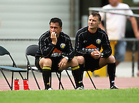 Wellington coaches Charlie Howe and Stu Jacobs..NZFC soccer  - Team Wellington v Waikato FC at Newtown Park, Wellington. Sunday, 20 December 2009. Photo: Dave Lintott/lintottphoto.co.nz