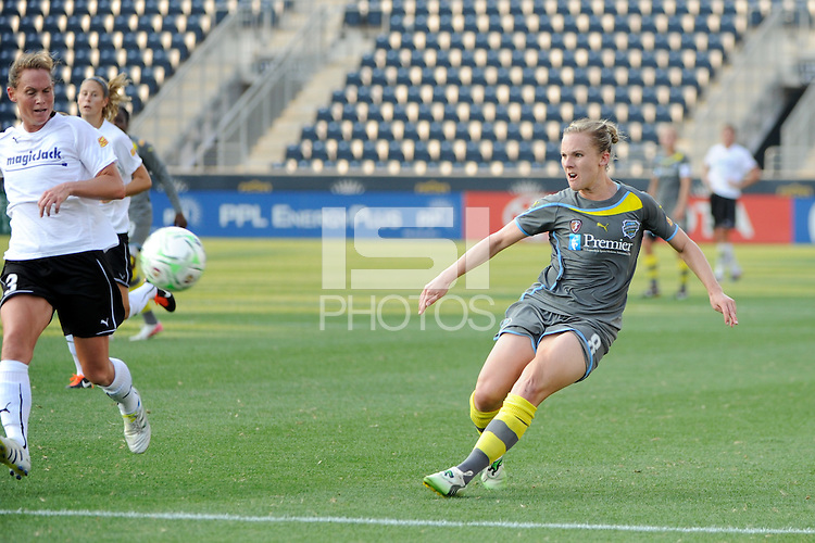 Amy Rodriguez (8) of the Philadelphia Independence shoots and scores. The Philadelphia Independence defeated magicJack SC 2-0 during the Women's Professional Soccer (WPS) Super Semifinal at PPL Park in Chester, PA, on August 20, 2011.