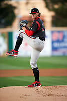 Lake Elsinore Storm starting pitcher Chris Paddack (25) delivers a pitch during a California League game against the Rancho Cucamonga Quakes at LoanMart Field on May 18, 2018 in Rancho Cucamonga, California. Lake Elsinore defeated Rancho Cucamonga 5-4. (Zachary Lucy/Four Seam Images)
