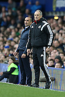 Everton Manager Roberto Martinez and  Swansea City Head Coach Francesco Guidolin both look on during the Barclays Premier League match between Everton and Swansea City played at Goodison Park, Liverpool
